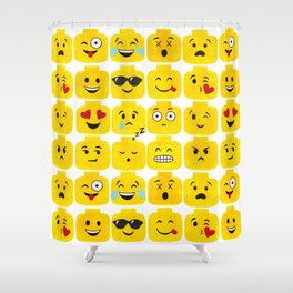 Emoji-Minifigure Shower Curtain