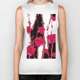 MODERN ART PINK ROSE BLACK & WHITE ART Biker Tank