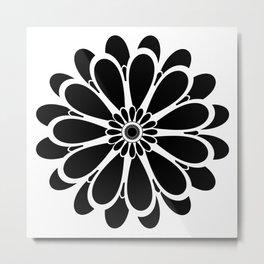 Black Flower Design Metal Print