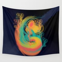 drunk Wall Tapestries featuring Punch Drunk Cosmos by Blue Muse