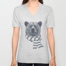 Winter Bear Drawing Unisex V-Neck