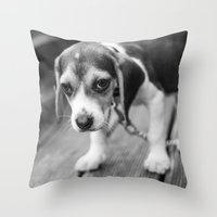 puppy Throw Pillows featuring Puppy! by Clayton Jones