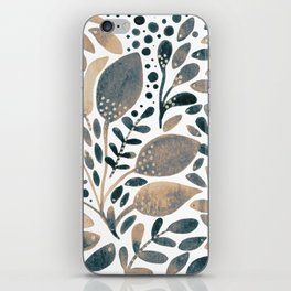 Neutral watercolor leaves iPhone Skin
