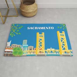 Sacramento, California - Skyline Illustration by Loose Petals Rug
