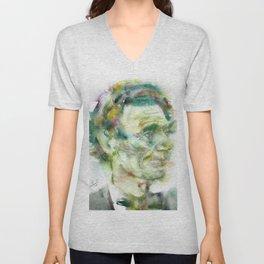 ABRAHAM LINCOLN - watercolor portrait.2 Unisex V-Neck