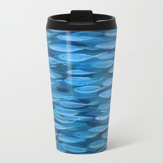 Shimmer Shoal in Blue Metal Travel Mug