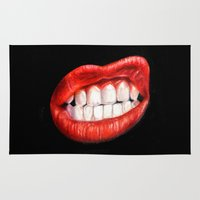 lips Area & Throw Rugs featuring Lips by Sam Luotonen