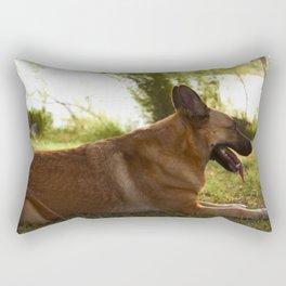 Beautiful brown Belgian dog sitting on grass Rectangular Pillow