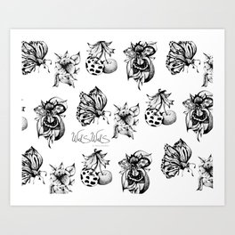 BUGS AND FLOWERS Art Print