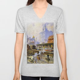 Elevated Subway at Chatham Square New York City landscape painting by Colin Campbell Cooper  Unisex V-Neck