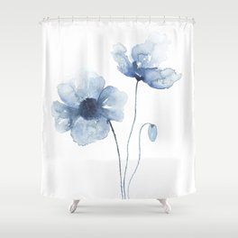 Blue Watercolor Poppies Shower Curtain