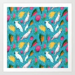 Australian Native Birds and Flowers Art Print