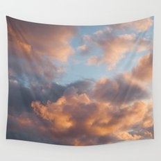 Peach Clouds Wall Tapestry