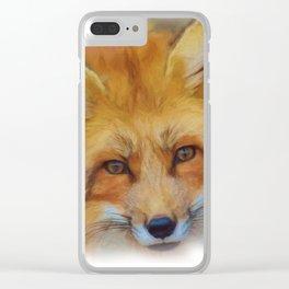 Fox in a close-up Clear iPhone Case