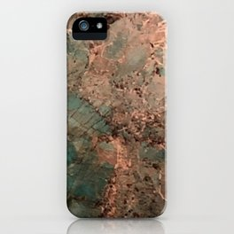 Marble Emerald Copper Blue Green iPhone Case