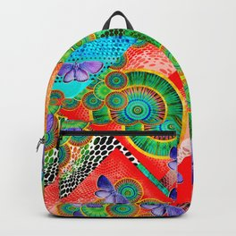 Abstract colorful mandala experiment Backpack