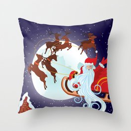 Santa Riding Christmas Sleigh at Night Throw Pillow
