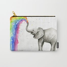 Baby Elephant Spraying Rainbow Whimsical Animals Carry-All Pouch