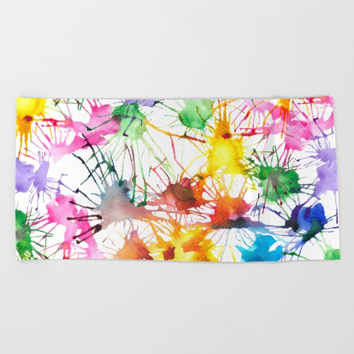 Watercolor Splashes Beach Towel
