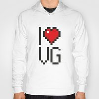 video games Hoodies featuring PAUSE – I Love Video Games by PAUSE