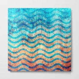 Fun Psychedelic Blue and Gold Wave Pattern Metal Print