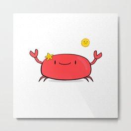 Kawaii Crab Friend Metal Print