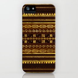 Ethnic African Golden Pattern on brown iPhone Case
