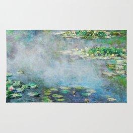 1906 Waterlily on Canvas.  Claude Monet . Vintage fine art. Rug