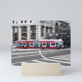 San Francisco Trolley Bus - BW background Mini Art Print