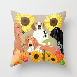 Coonhound Autumn Throw Pillow