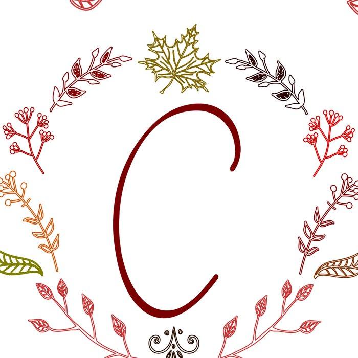 Floral C letter Leggings