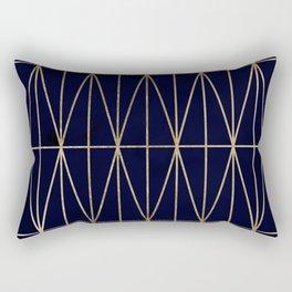 Modern gold geometric triangles pattern navy blue watercolor Rectangular Pillow