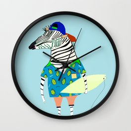 surfer zebra Wall Clock