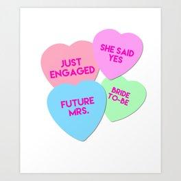 Bride Candy Hearts Valentine Art Print