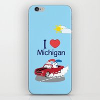 coraline iPhone & iPod Skins featuring Ernest and Coraline | I love Michigan by Hisame Artwork