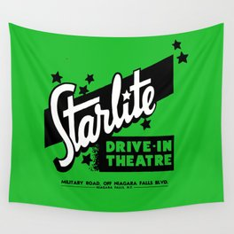 Starlite Drive In Green Wall Tapestry