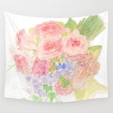 Garden Bouquet Watercolor Wall Tapestry