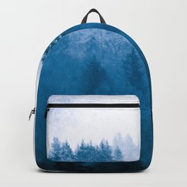 Blue Winter Day Foggy Trees Backpack