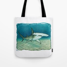 """""""Great Hammerhead Shark"""" by Amber Marine ~ Watercolor Painting, (Copyright 2016) Tote Bag"""