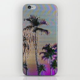 Analogue Glitch Palm Trees Sunset iPhone Skin