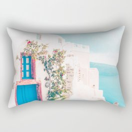 Santorini Greece Cozy blush travel photography in hd. Rectangular Pillow