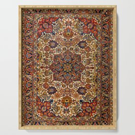 Persia Tabriz 19th Century Authentic Colorful Blue Red Yellow Vintage Patterns Serving Tray