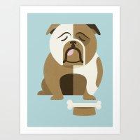 Bulldog - Blue Variant Art Print