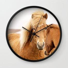 Icelandic Chestnut Horse Wall Clock