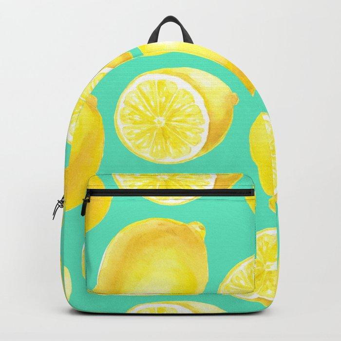 Watercolor lemons pattern Backpack
