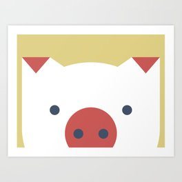 Peek-a-Boo Pig in Red and Navy on Yellow Art Print