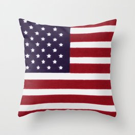 "Stars & Stripes flag, painterly ""old glory"" Throw Pillow"
