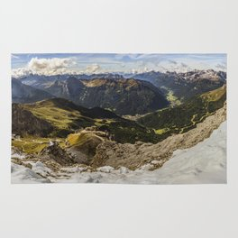 view from sass pordoi - Dolomites Panorama Rug