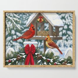 Red Cardinals and Christmas Bird Feeder Serving Tray