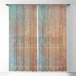 Vintage Rust, Copper and Blue Sheer Curtain